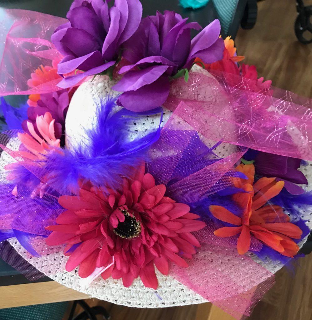 Multi color flower hat