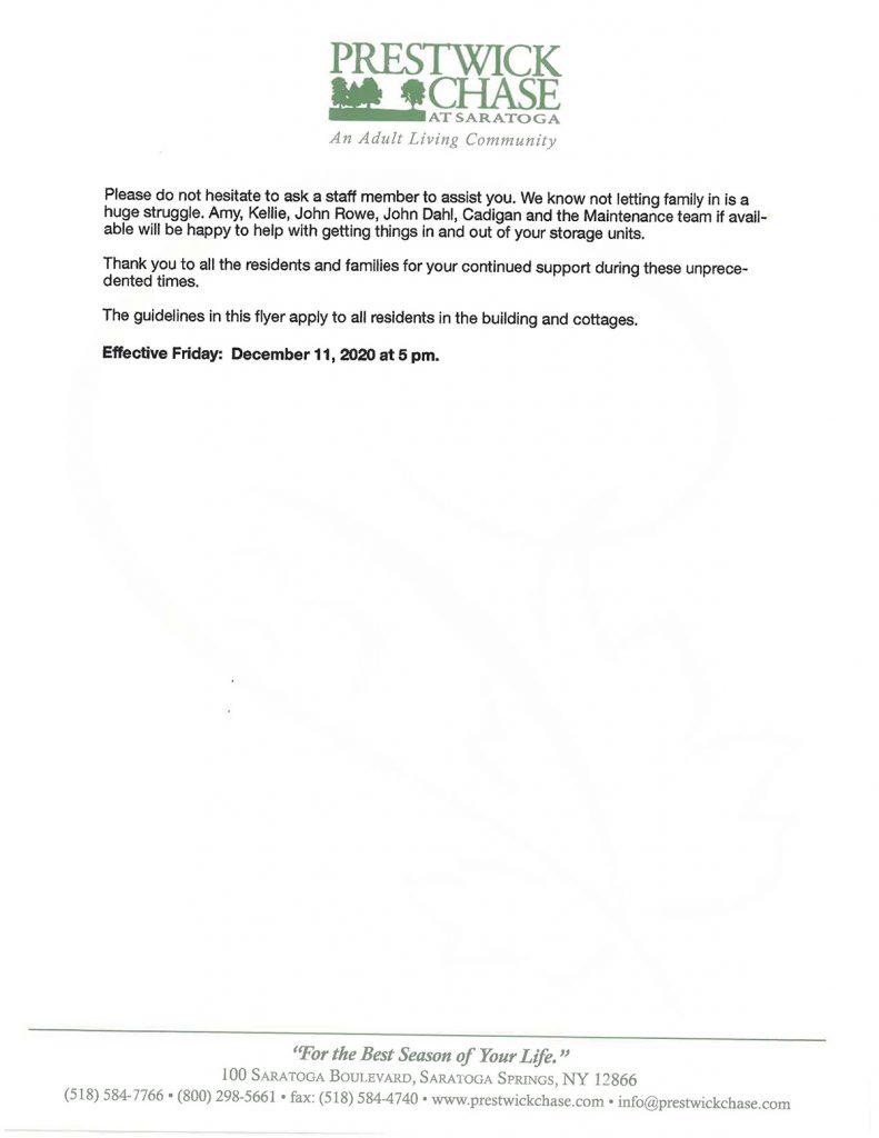 Prestwick Chase COVID Update. 12-10-20