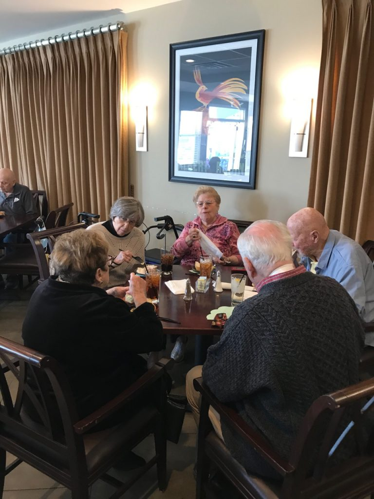 residents enjoying lunch in bar at Spring fling 2021